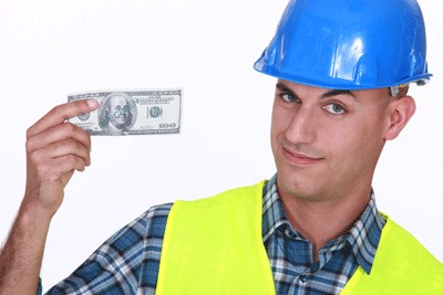 Living Wage - Construction Worker with a $100 bill